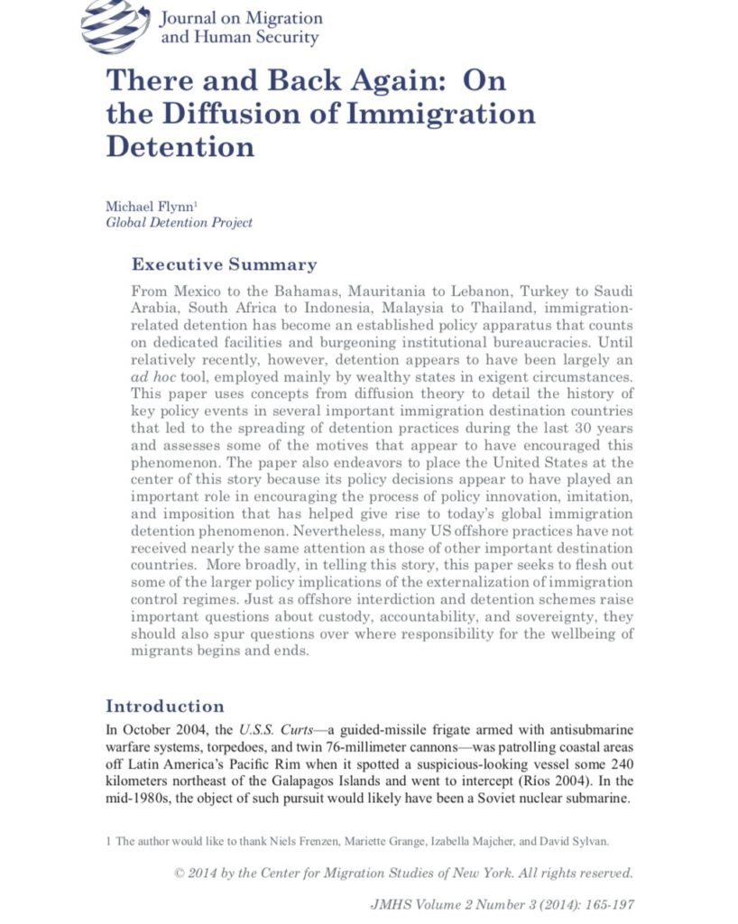 Michael Flynn on the Diffusion of Immigration Detention